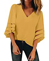 BLENCOT Womens Casual 3 4 Sleeve Bell Sleeve Lace Patchwork Yellow Chiffon Blouse Shirt Casual Loose Tops Large