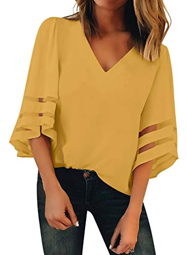 BLENCOT Womens Yellow Casual 3 4 Sleeve Bell Sleeve Lace Patchwork Chiffon Blouse Shirt Casual Loose Tops Medium