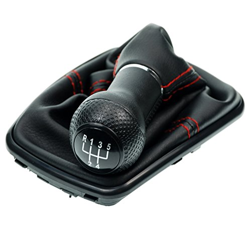 L & P Car Design L&P A251-3 Schaltsack Schaltmanschette Schwarz Naht Rot Schaltknauf 5 Gang 23mm kompatibel mit VW Golf 4 IV Rahmen Schwarz Knauf als Plug Play Ersatzteil für 1J0711113