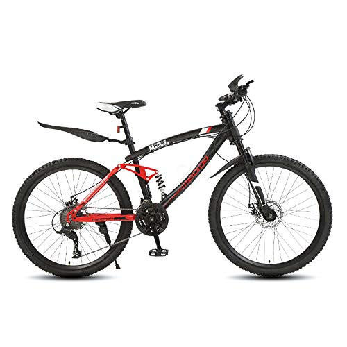 @Y.T 26-inch Mountain Bike, 21/24/27 Speed Shock-Absorbing Carbon Steel Frame Hard Tail Adjustable Seat Double Disc Brakes Adult Off-Road Bike