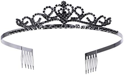 HEALLILY Mooie Bruids Strass Haar Loop Haar Baret Haar Clip Voor Vrouwen Meisjes Decoratie Bruiloft 1 Pc Zwart