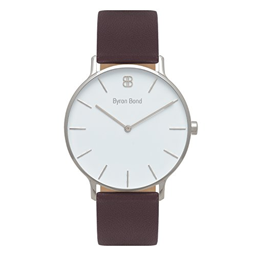 41mm Men's Watch - Ultra Thin Case Minimalist Waterproof Stainless Steel Dress Classic Fashion Business Wristwatch by Byron Bond (Richmond - Silver Case with White Dial and Brown Leather Strap)
