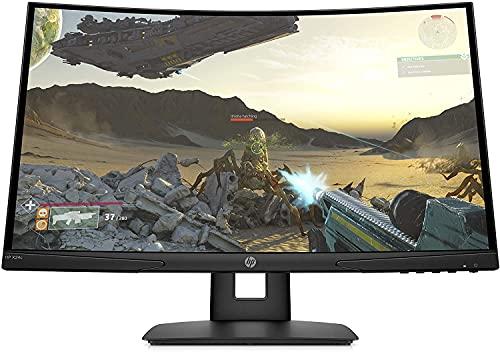 """HP X24c 9FM22AS – Moniteur de Jeu incurvé de 23,6"""" FHD (16:9, 1920 x 1080 Pixels, 144 Hz, 4 ms, 1 x HDMI 2.0, 1 x DisplayPort 1.2) Noir"""