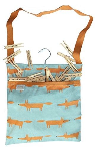 MR Fox Herr Fox Print–Aqua Blau & Orange Fox Print Premium Qualität abwischbar Baumwolle Wäscheklammerbeutel mit Line Haken zum Aufhängen, inkl. 40Qualität Holz Clip Wäscheklammern