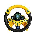JEJA Children's Steering Wheel Toys, Controlador de conducción portátil simulado con Sonido y música Divertidos, Regalo Educativo temprano para niños pequeños/niños, Amarillo con Base