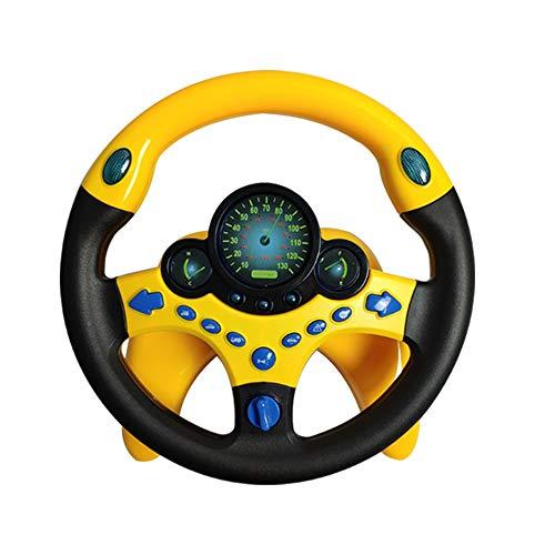 JEJA Childrens Steering Wheel Toys, Controlador de conduccion portatil simulado con Sonido y musica Divertidos, Regalo Educativo temprano para ninos pequenos/ninos, Amarillo con Base