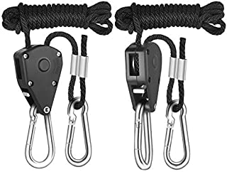 iPower GLROPE 1-Pair 1/8 Inch 8-Feet Long Heavy Duty Adjustable Rope Clip Hanger (150lbs Weight Capacity) Reinforced Metal Internal Gears, Black