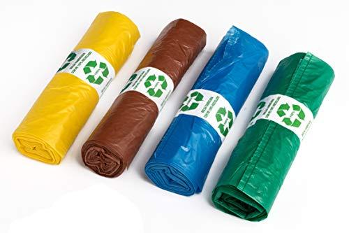 MARKESYSTEM – BOLSA DE BASURA DE PLÁSTICO RECICLADO PARA CUBOS RECICLAJE - Pack 4 Rollos de colores diferentes, 25 Bolsas por Rollo (Total 100 bolsas de 30 Litros)