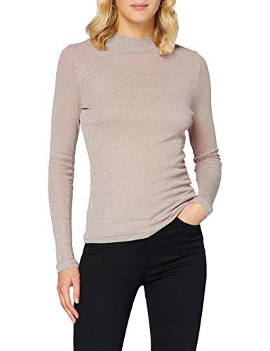 Only ONLDIANA L/S Top JRS Noos Camiseta de Manga Larga, Rosa Ahumado/Detalle: Silver Lurex, XL para Mujer