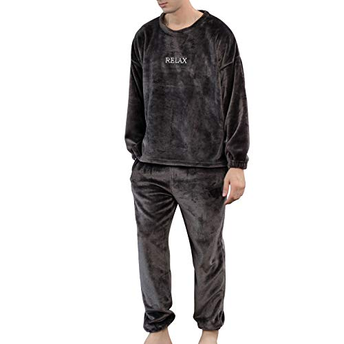 Pijama Unisex Hombre y Mujer a Juego Forro Polar Pijama 2 Piezas Conjuntos de Parejas para Invierno Ropa de Casa Manga Larga y Pantalones Largos (Gris Oscuro, XXL)