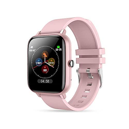 Reloj Inteligente, Fitness Impermeable Reloj Deportivo Rastreador de Actividad Pulsera Inteligente con MonitorizacióN de Frecuencia CardíAca PresióN Arterial Y SueñO para Hombres Y Mujeres Color Rosa