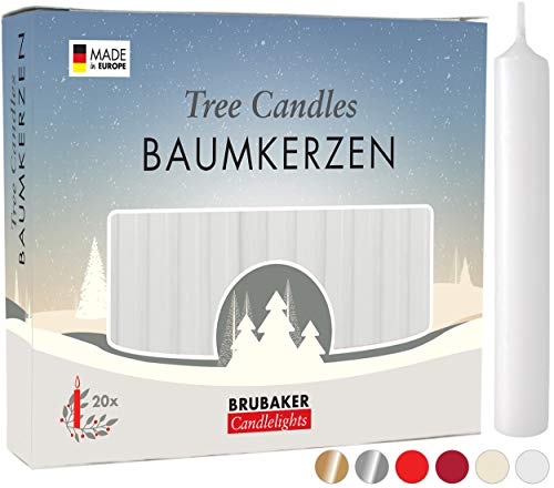 BRUBAKER 20 Pack Tree Candles Wax - Christmas Candles Pyramid Candles Christmas Tree Candles - White