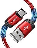 JSAUX Cable USB C [1M+2M,2Pack] Duradera 3A Cable USB Tipo C Carga Rápida Nylon Trenzado para Samsung S20 S10 S9 S8 Plus A3 A5 2017 Note10 9 8,Xiaomi Mi A1 A2,Huawei P10 P9,Google Pixel,LG,Sony-Rojo