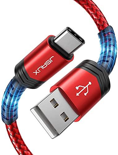 JSAUX Câble USB C (1+2M,Lot de 2) Durable 3A Chargeur USB C Cable USB Type C Charge Rapide Nylon Tressé pour Samsung S20 S10 S9 S8, Note10 9 8 A70 A50 A40,Huawei,Sony,LG,Xiaomi et Plus-Rouge