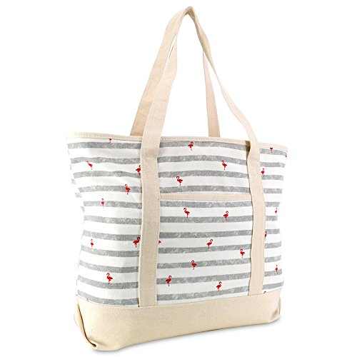 DALIX 22' Shopping Tote Bag in Heavy Cotton Canvas (Zippered Top) Gray Flamingo