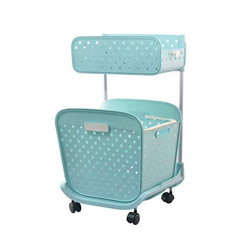 HR - Cesta para la ropa sucia con ruedas, 2 capas, plástico grueso y suave, para cuarto de baño, salón (42 x 34 x 75 cm), color azul