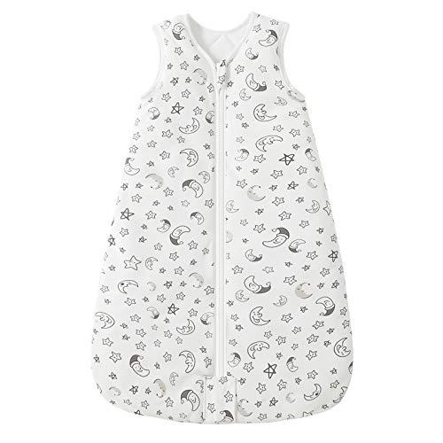 Mosebears Baby Winter schlafsack 2.5 Tog Baby schlafsack 100% Baumwolle atmungsaktiv Babyschlafsack (White Star, 6-12 Monate)