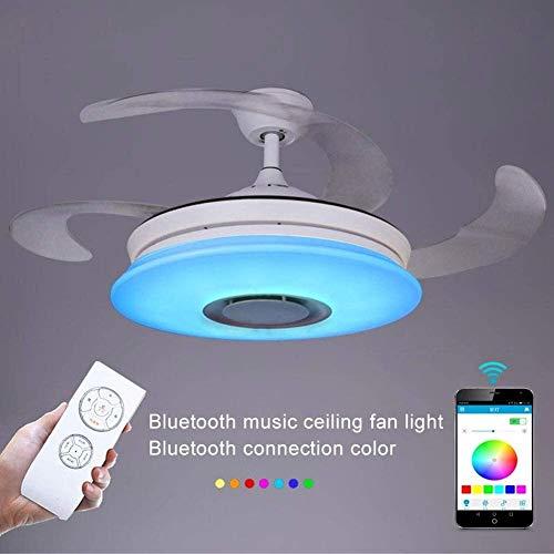 DLGGO Ventilador moderna retráctil láminas de techo con luz 36W remoto, Bluetooth Altavoz de techo con lámpara regulable Música luz de techo, lámpara de la creatividad dormitorio plegable del ventilad