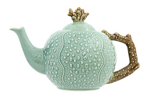 Creative Co-op Stoneware Teapot with Embossed Coral Design, Aqua
