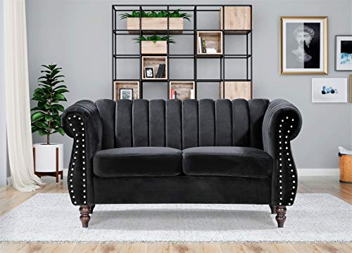 "Container Furniture Direct Quinones Modern Chesterfield Channel Tufted Loveseat with Nailhead Accents, 59.1"", Black"