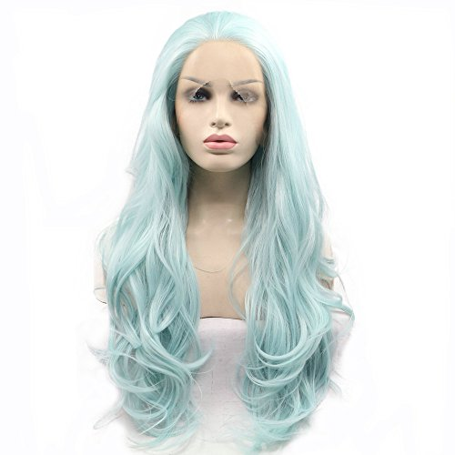 """Blue Green Wig Long Wave Hair Synthetic Lace Front Wigs For Women Pastel Color Summer Drag Queen Wigs 26"""""""