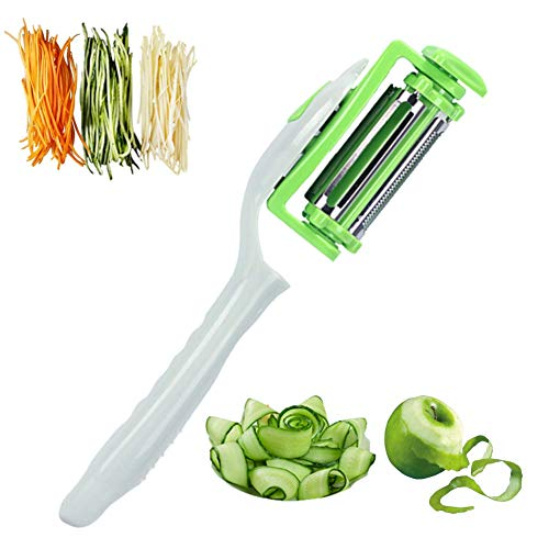 Heavy duty Multifunction Swivel Stainless Steel Vegetable Peeler for Potato, Fruits, Carrot, Slicer, Zucchini Julienne, Amazing Kitchen Tool with BPA free