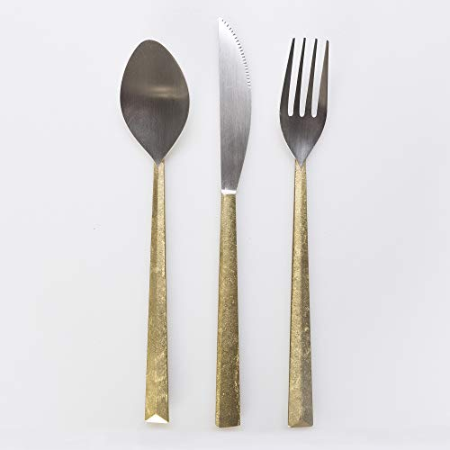 Futagami 3 Stück Handarbeit Messing Und Silberbesteck Messer & Gabel-Ess-Set