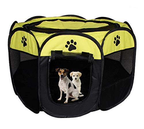 Meiying Pet Dog Cat Playpen Cage Crate - Portable Folding Exercise Kennel - Indoor & Outdoor use (L (35