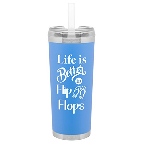 Life is Better in Flip Flops Water Bottle | 24 Ounce Stainless Steel Travel Tumbler | Lid and Straw | Double Wall Copper Insulated | Hot or Cold Beverages | Customized with Fun Saying (Matte Sky Blue)