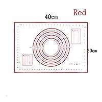 キッチンアクセサリーベーキングマットシートピザ生地ノンスティックメーカーホルダー洋菓子ガジェット調理用具用品耐熱皿 家に適しています (Color : Red 30x40)