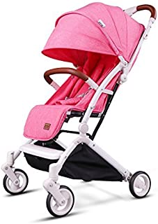 Kids&Koalas Airplane Stroller One Step Design for Opening & Folding lightweight Baby Stroller Portable Travel Pram for Infant Convertible Baby Carriage(Pink) [並行輸入品]