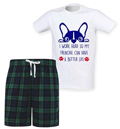 Mens I Work Hard So My Frenchie Can Have A Better Life Tartan Short Pajama Set Family French Bulldog
