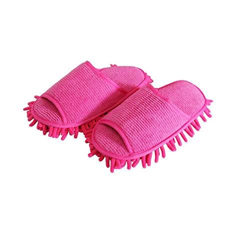 1 par de zapatillas de microfibra unisex para casa con polvo lavables mopa zapatillas zapatos herramienta de limpieza de piso Rosy