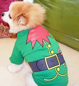 Doggie Style Store Christmas Xmas T-Shirt Elf Green Dog Puppy Pet Cat Kitten Vest Top Shirt