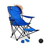 Relaxdays Camping Chair with Footrest, Folding Fishing Seat with Drink Holder & Armrests
