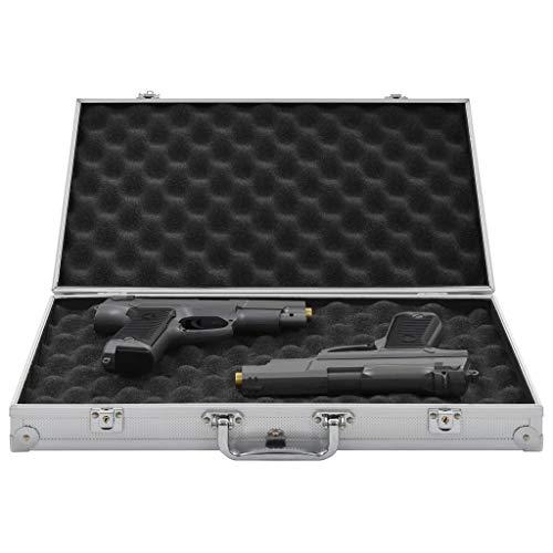 Festnight Maletín para Armas Pistolas Maleta con Cerradura de Combinación de Aluminio y ABS Plateado 47 x 26 x 8,3 cm