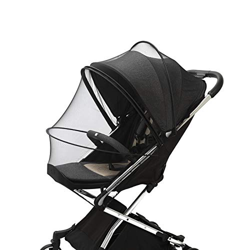 Mosquito Netting for Stroller, Encrypted Stroller Mosquito Net Full Cover, HJQJ Stretchable Netting Breathable Folding Dual-Use Zipper Mesh Mosquito Net for Baby Car seat Cover, Cradles (Black)