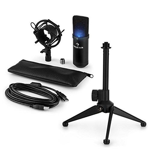 auna MIC-900B-LED USB Mikrofon-Set V1: Kondensatormikrofon + Mikrofon-Tischständer (LED, USB, Plug&Play, höhenverstellbar, rutschfest) schwarz