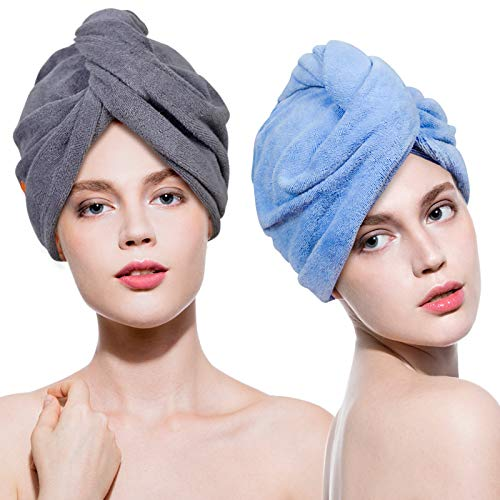 Lovife Microfiber Hair Towel Wrap 2 Pack Quick Drying Towels Hair Drying Turban Towel with Button Absorbent Cap for Long & Curly Hair Anti-Frizz (Grey+Blue)