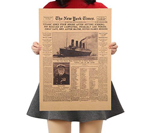 QINGRENJIE Cuadro de Arte de Pared, póster de Historia clásica, naufragio del Titanic, periódico Antiguo, Papel Kraft Retro, Pintura para decoración del hogar, 30 * 42 cm