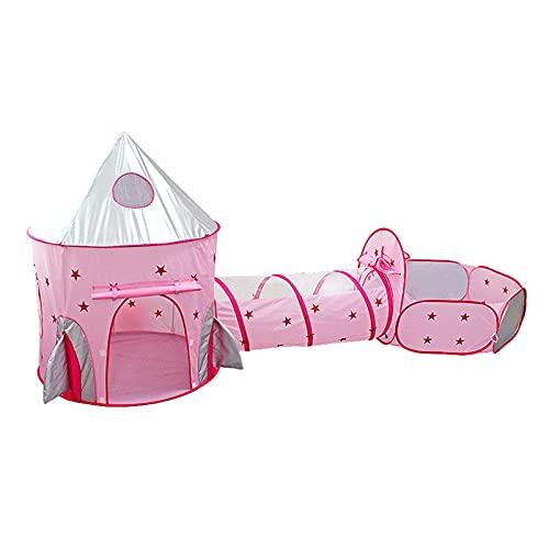 SONG Niños juegan Carpa, Nave Espacial de túnel Infantil 3 en 1 Tienda de campaña, niños Plegables Tiendas de rastreo, Casas portátiles de océano Piscina, para niñas y niños (Color : Pink)