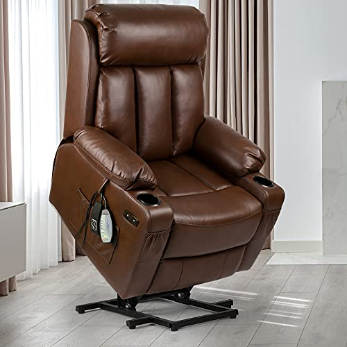YITAHOME Power Lift Recliner Chair with Extended Footrest for Elderly, Massage and Heat Faux Leather Recliner Chair, 2 Cup Holders, 2 Side & Front Pockets and Remote Control for Living Room (Brown)