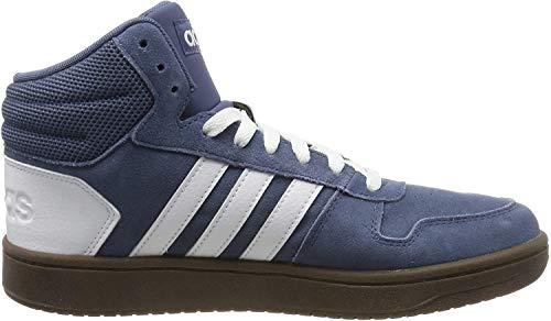 adidas Herren Hoops 2.0 Mid Hohe Sneaker, Blau (Tech Ink/Footwear White/Footwear White 0), 42 EU