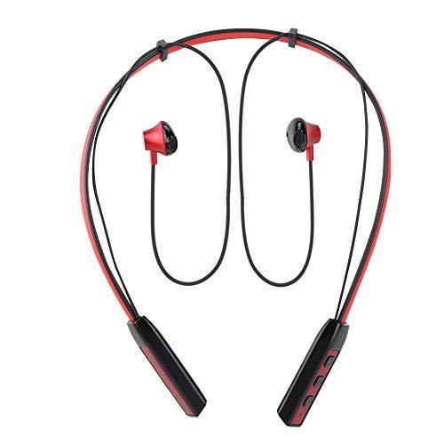 Mugast Hoofdtelefoon met nekbeugel, Bluetooth 4.1, sport, hardlopen, sporten, hardlopen, koptelefoon met lichte en compacte behuizing, ongeveer 12 uur gesprekstijd, rood