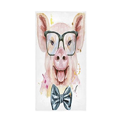 ALAZA Lindo cerdo cerdo acuarela toallas toalla de algodón toalla de baño decoración de baño 30 x 15 pulgadas