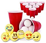 Totem World Beer Pong Game Set - 12 Red Cups + 24 White Ping-Pongs + 6 Emoji Balls