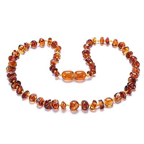 ZHAOXIA Collar de ámbar (Cognac) - Collar de Ambar ámbar báltico - Longitud 33 cm