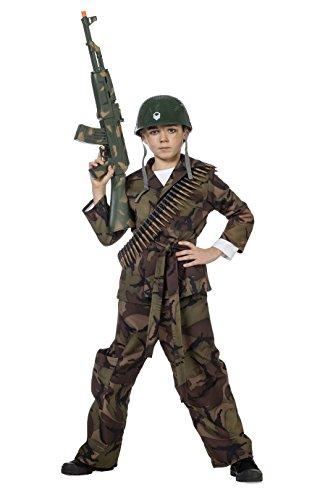 Camouflage-Anzug Kinder-Kostüm Jungen Overall (ohne Kappe) Soldaten-Anzug Tarnfarbe Militärunform Armee Army Luftwaffe Marine Karneval Fasching Hochwertige Verkleidung Fastnacht Größe 140 Grün