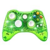 Controlador de Juego inalámbrico para Microsoft Xbox 360 Console/PC Windows7/8/10-Trasparent Luces LED Coloridas (Verde)