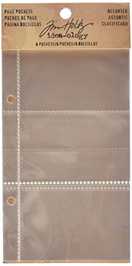 Divided Page Pockets for Scrapbooking by Tim Holtz Idea-ology, 4 x 7 Inches, 6 Pockets, Clear, TH93106